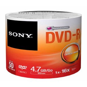 Disco-Optico-Sony-DVD-R-Shrink-Pino-Com-50-Unidades